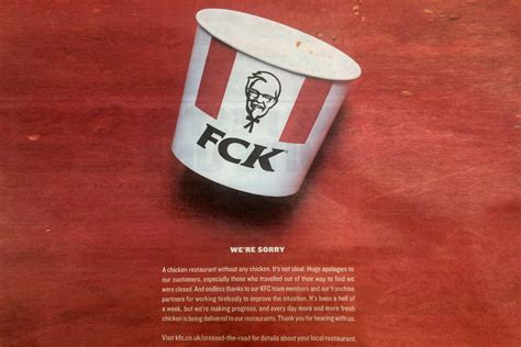 KFC apologises for chicken shortage with witty 'FCK, we're