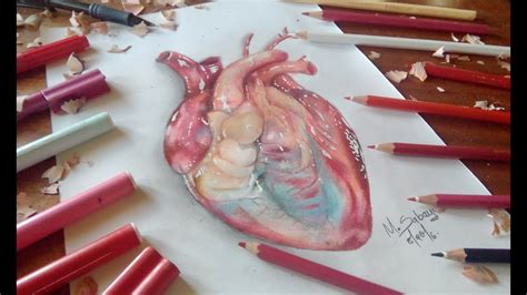 How to draw a hyper realistic heart-colored pencil